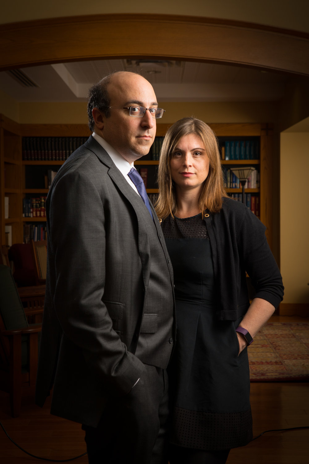 Portrait of Jonathan Manes and Nicole Hallet, of the Law School, in O'Brian Hall.