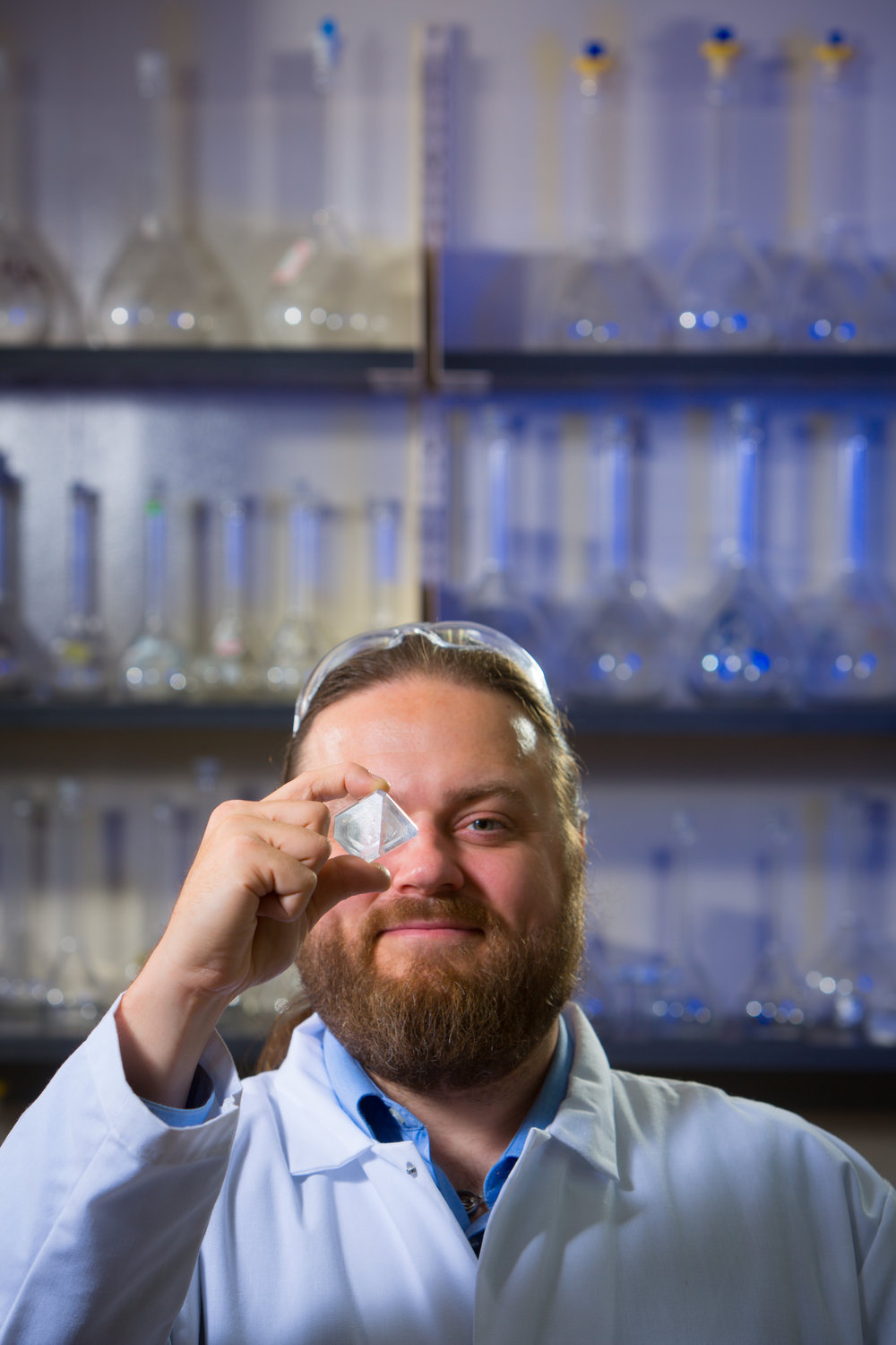 Portrait of Chemistry Assistant Professor Jason Benedict in his Natural Sciences Complex Lab