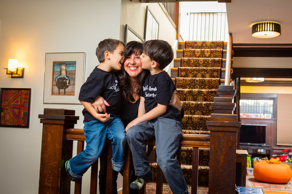 Rachel Jackson, founder of Rachel's Remedies is photographed with her sons at home in Buffalo, NY.