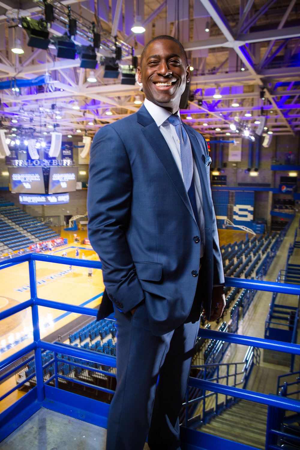 Portrait of Allen Greene, University at Buffalo Athletic Director in Alumni Arena