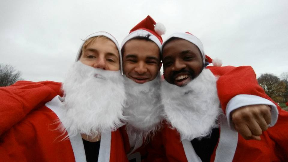 Sam, Theo and Tommy doing a Santa run for charity