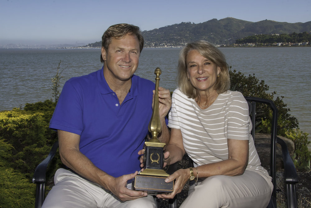 Robert Placak & Nancy Dow Moody with RCP Tiburon Open Mile Swim Trophy (Photo by  Renee Maync)