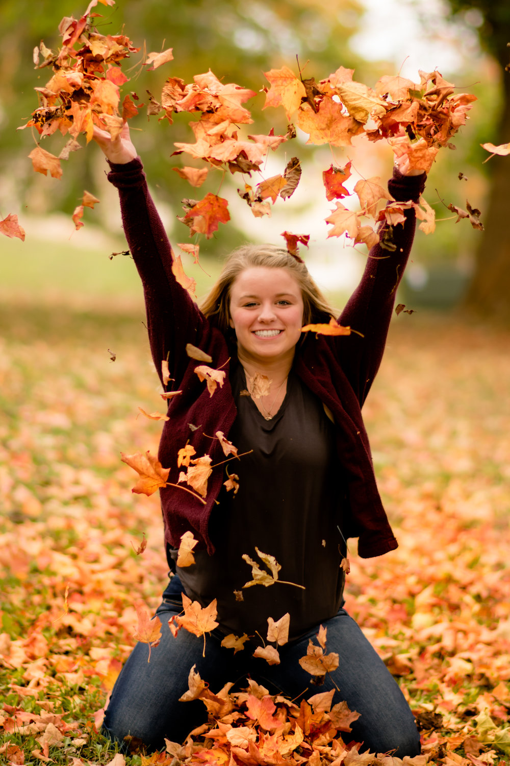 Leaves in the fall make for amazing props in photos and don't cost a thing.