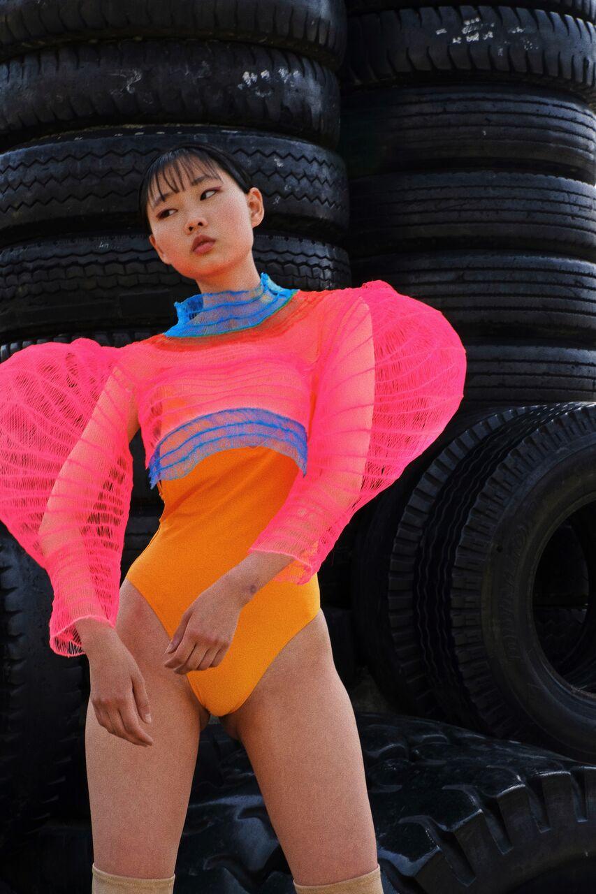Credits:  Photography: Anne Yano, Stylist: Syuto Tanaka, Model: Mioko, MUA: Yuko Shimada, Hair by Saya Hashimoto, 3D Designer and Artist: Seiran Tsuno