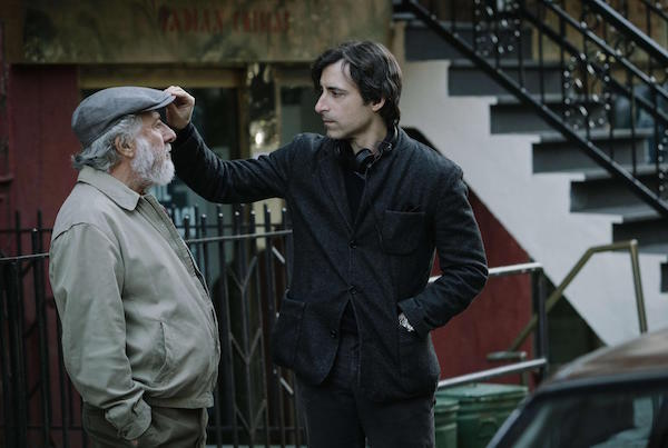 Dustin Hoffman and Noah Baumbach on the set of ' The Meyerowitz Stories'