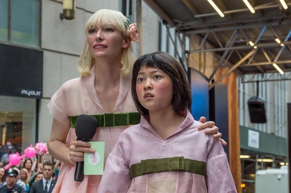 Tilda Swinton, with Seo-Hyun Ahn, in 'Okja', streaming on Netflix