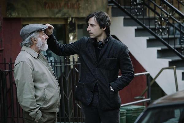 Dustin Hoffman and filmmaker Noah Baumbach on the set of 'The Meyerowitz Stories', streaming on Netflix.