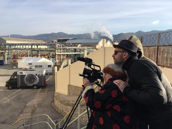 Agnès Varda and JR shooting 'Faces, Places'