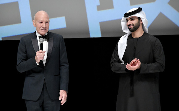 PHOTO BY NEILSON BARNARD/GETTY IMAGES FOR DIFF  Sir Patrick Stewart and HE Sheikh Mansour Bin Mohammed Al Maktoum