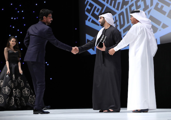 PHOTO BY VITTORIO ZUNINO CELOTTO/GETTY IMAGES FOR DIFF  Irrfan Khan, HE Sheikh Mansour Bin Mohammed Al Maktoum and DIFF Chairman Abdulhamid Juma