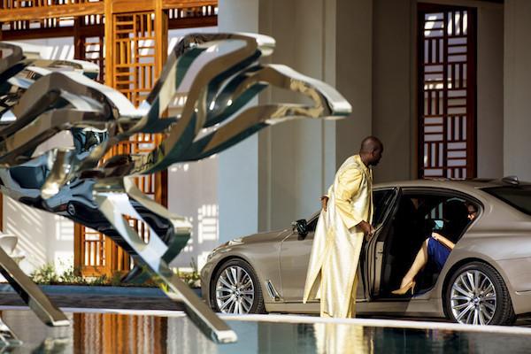 PHOTO COURTESY OF JUMEIRAH GROUP  The entrance to Al Naseem hotel, featuring artwork by Mattar Bin Lahej
