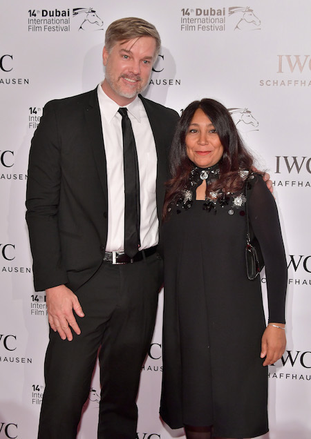 PHOTO BY NEILSON BARNARD/GETTY IMAGES FOR DIFF  Brad Niemann and Haifaa al Mansour pose on the red carpet for the IWC Filmmaker Award