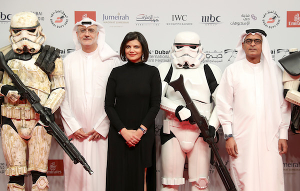 PHOTO BY VITTORIO ZUNINO CELOTTO/GETTY IMAGES FOR DIFF  DIFF Artistic Director Masoud Amralla Al Ali, Managing Director of DIFF Shivani Pandya and DIFF Chairman Abdulhamid Juma attend the 'Star Wars: The Last Jedi' Closing Night red carpet of the 14th annual Dubai International Film Festival