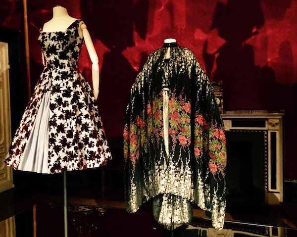 A cocktail dress by Sartoria Piera Filippini circa 1954 on the left, with an ensemble by Pino Lancetti from the 1977/1978 collection