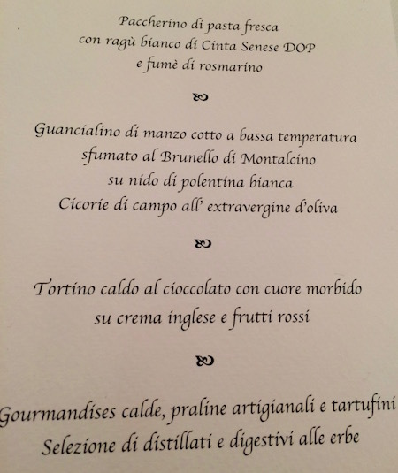 Our menu for the dinner included fresh pasta with a ragu sauce made of boar from Siena and slowly cooked beef on a bed of white polenta with chicory greens — all crowned a soft centered chocolate cake to end the meal