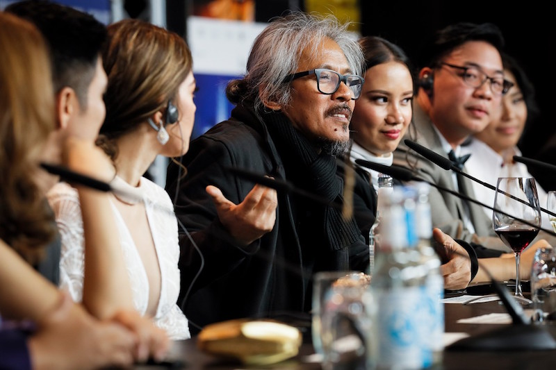 Lav Diaz at the press conference for 'Season of the Devil' held during the 68th Berlinale  Photo courtesy of the Berlinale