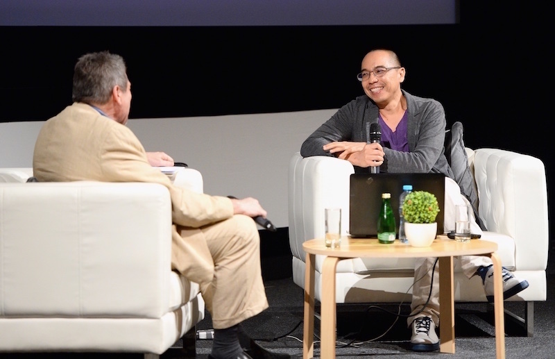 Apichatpong Weerasethakul talks to Richard Peña during a Qumra Masterclass  Photo courtesy of the Doha Film Institute