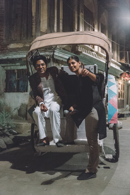 Siddiqui and Nandita Das on the set of 'Manto'