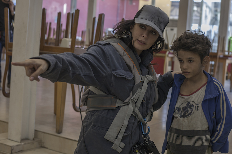 Nadine Labaki on the set of 'Capharnaum', photo by Fares Sokhon