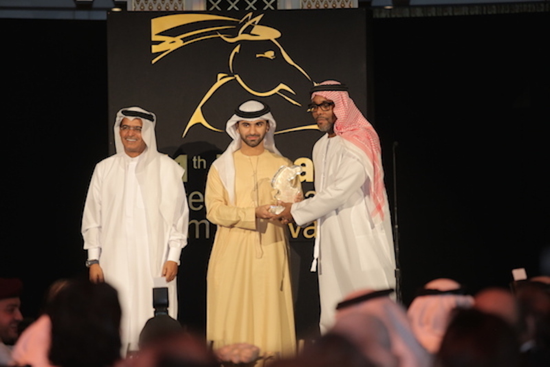 DIFF Chairman Abdulhamid Juma, H.H. Sheikh Mansour Bin Mohammed Bin Rashid Al Maktoum and Lee Daniels