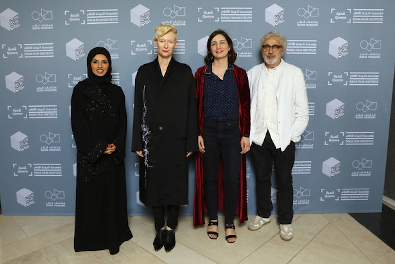 Tilda Swinton at Qumra 2018, with Fatma Al Remaihi, Hanaa Issa and Elia Suleiman