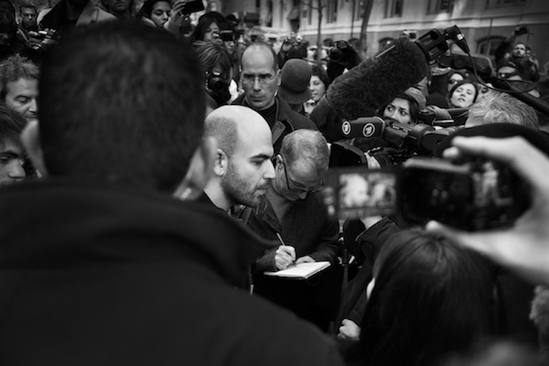 Roberto Saviano at Zuccotti Park during the Occupy Wall Street demonstrations, photo by ©  Umberto Nicoletti