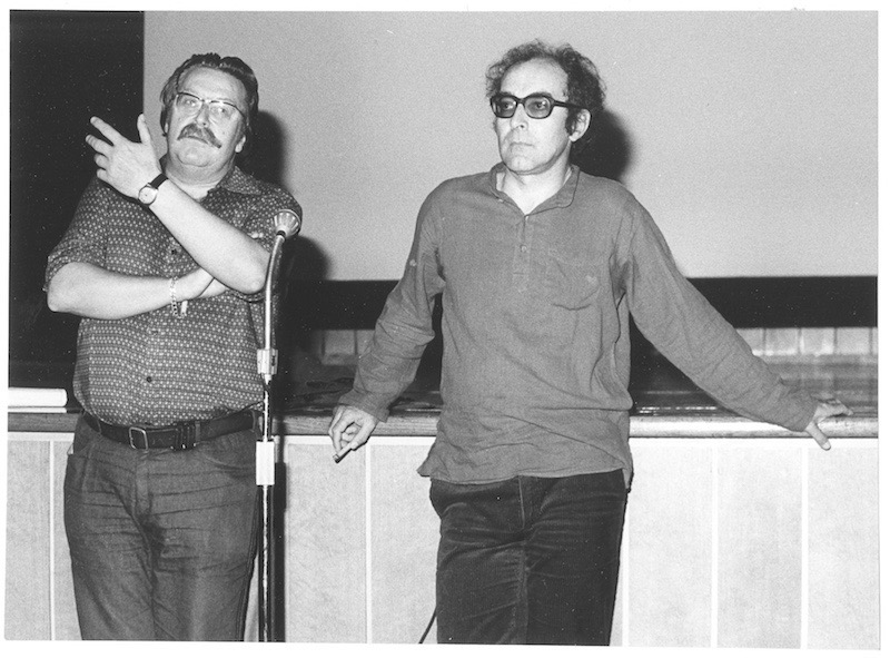 Jean-Luc Godard at the FIAF Congress of 1979 in Lausanne, with Freddy Buache, director of Cinémathèque suisse from 1951 to 1996 Photo ©Cinémathèque Suisse Collection. All rights reserved