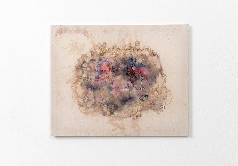 Through the Pores, 50 x 40.4 (cm), acrylic, ink, pencil, threads,beads on silk, 2017