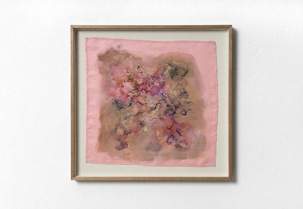 Underneath,33 x 32.5 (cm), acrylic, ink, pencil, threads on silk, 2017