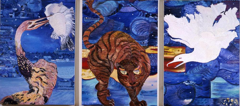 "Het, 1987    Oil on Canvas (45"" x 104"")    Dr. Jorge de Gregorio, Buenos Aires"