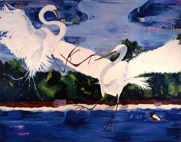 "North America, 1987    Oil on Canvas (74""x 58"")    Robert Abrams Collection, New York"