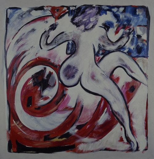 "Dancer, 1983    Acrylic on Canvas (77"" x 74"")    Mr./Mrs. Hauberg, Settle Washington Museum"
