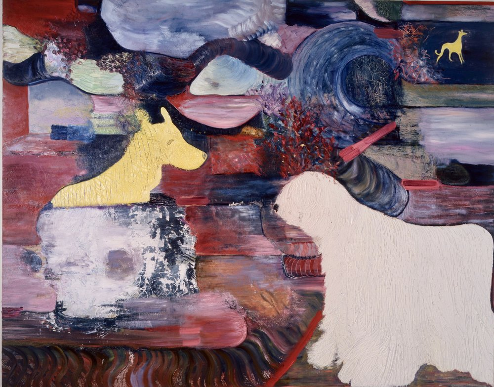 "Europe, 1987    Oil on Canvas (74"" x 58"")    Robert Abrams Collection, New York"