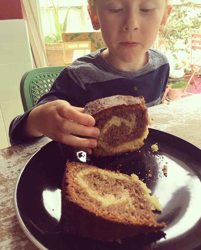 We made marble cake! Shame it tastes pretty horrid. If anyone wants a bit come say Hi! We don't want it!! 🙃