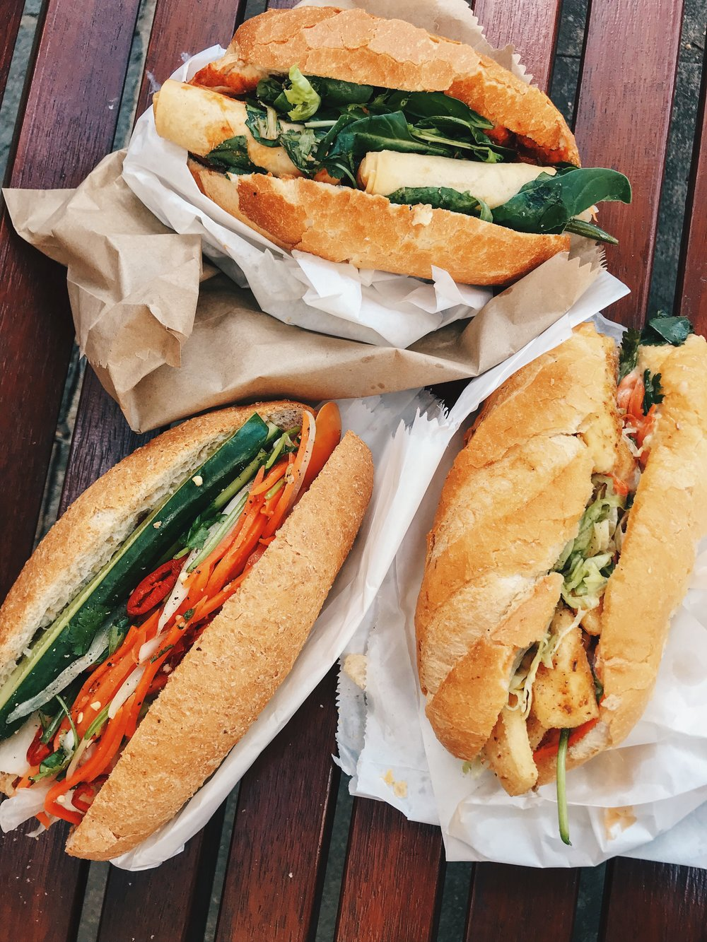 All the Banh Mi I picked up from Pyrmont. Top: OBUNMEE, Left: Banh Mi Co., Right: DK Station.