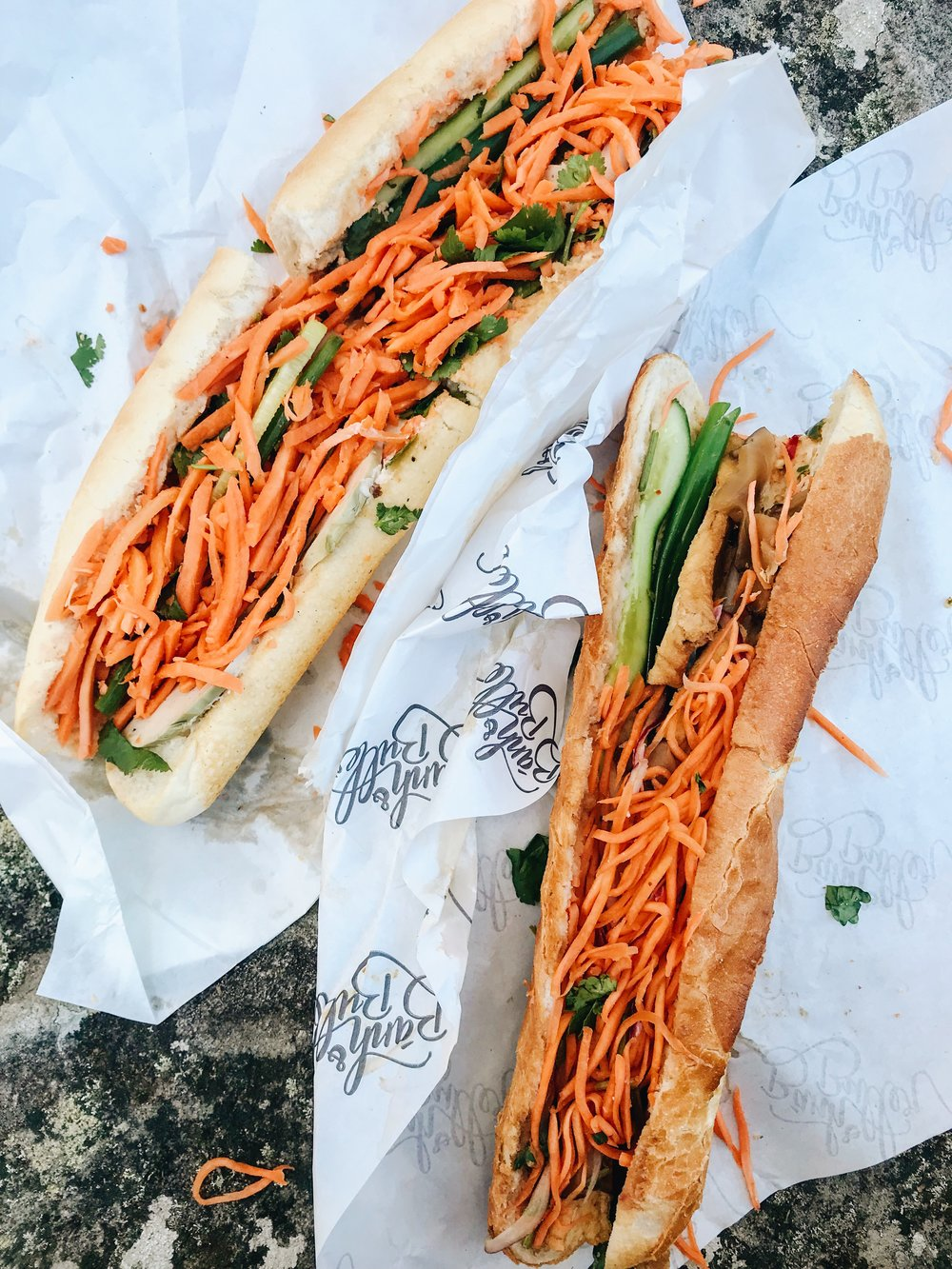 Left: Large Banh Mi from Rolls Vietnam, North Sydney  Right: Delicious Baguette stuffed with Caramelised Tofu and Shiitake Mushroom from Banh & Butter, CBD