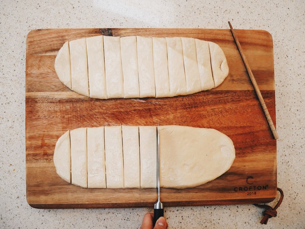 Step 7. In the morning, roll out  GENTLY  with a pin and slice each panel of dough into 1.5-2cm thick strips.