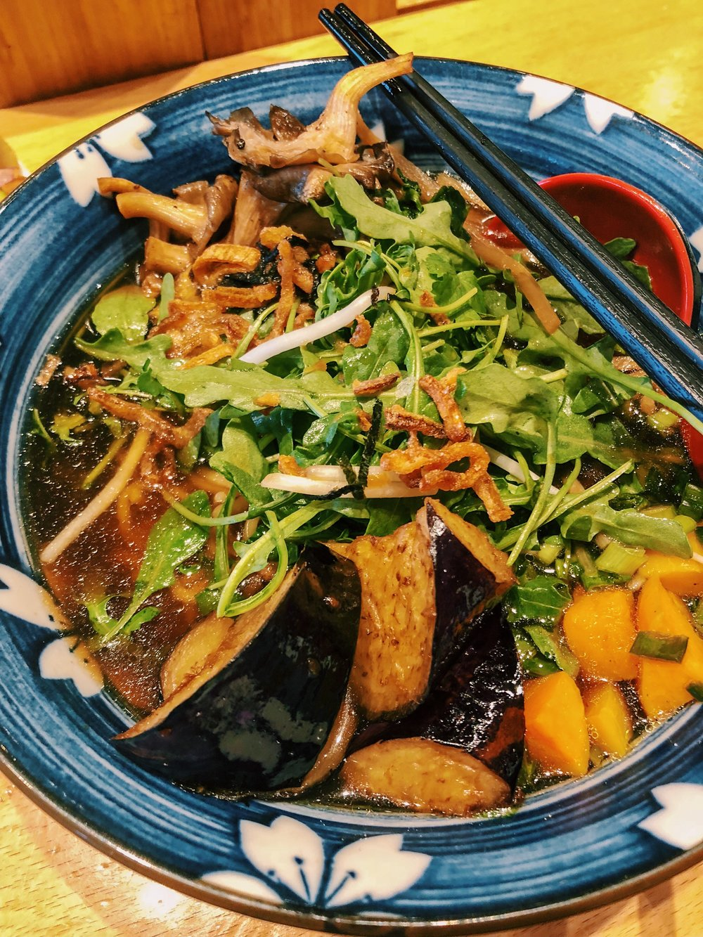 The  Caramelised Fennel Ramen  has big chunks of Fried Eggplant in it at  Boke Bowl