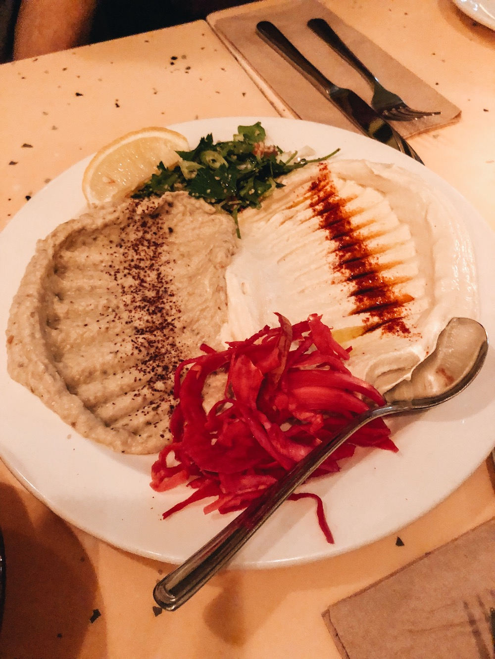 First part of Le Feast from   NUBA   - hummus and baba ganoush
