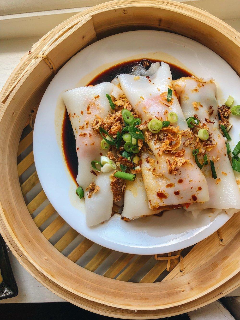 BBQ 'Pork' Cheung Fun made with  Sayur Vegan BBQ Pork