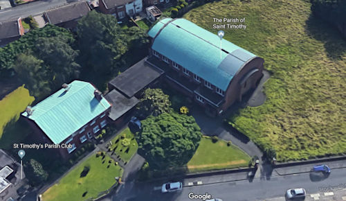 Satellite View of St Timothy's Church and House. The Club is no longer open.