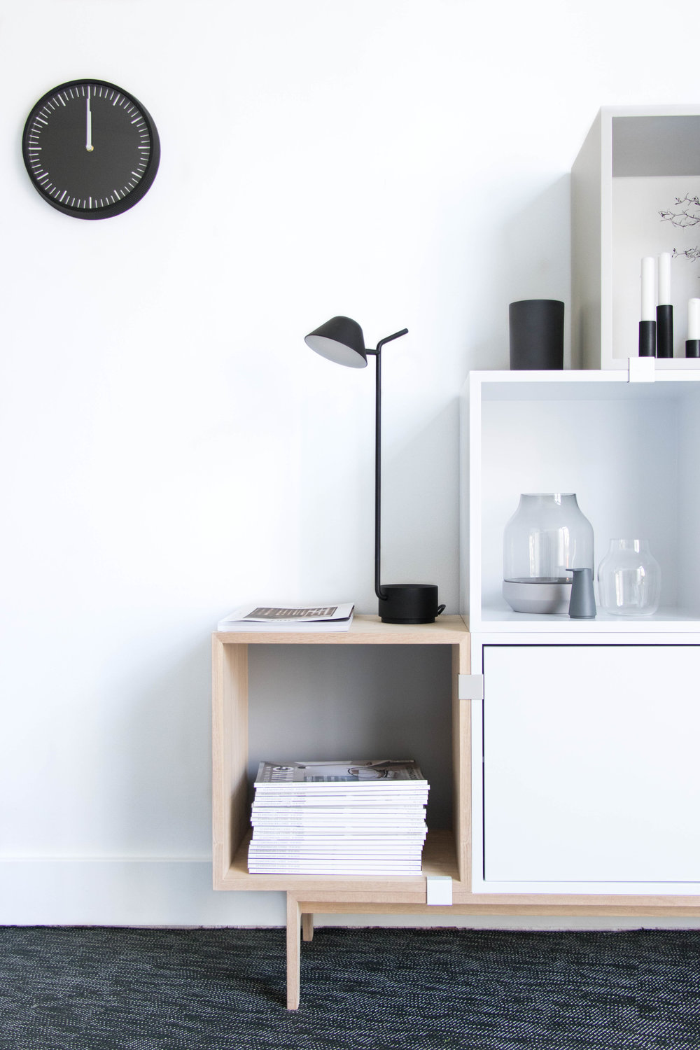 New setup - with our stacked storage system from Muuto