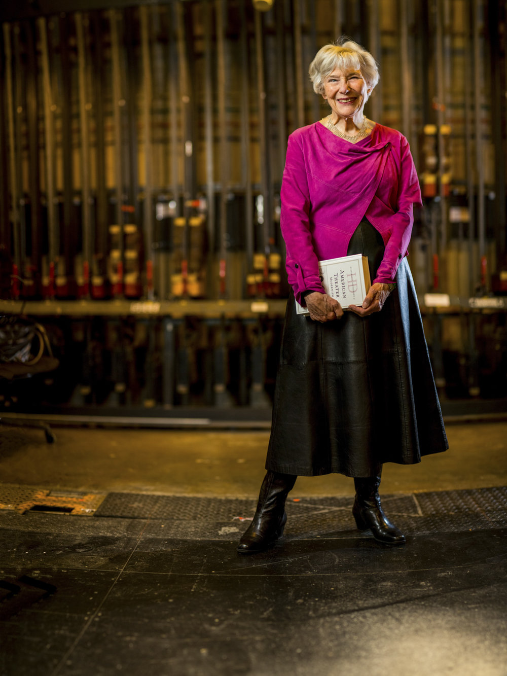 Professor Felcia Londre photographed backstage at the KC Rep Spencer Theater. Created for UMKC.