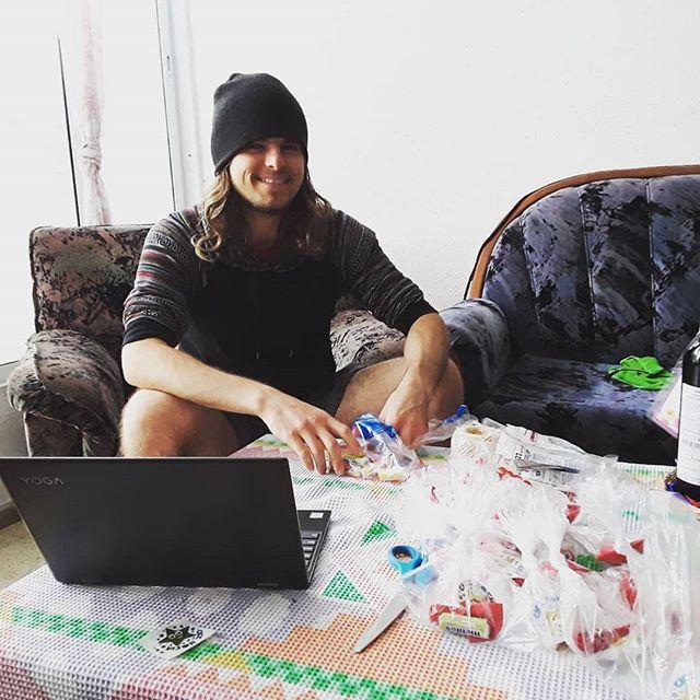 Prep work for the kids' craft booth -- good, ol' fashioned Purim goodie bags! 😋🍬 #purim #artsandcrafts #community #volunteering #kids  @yahelisrael