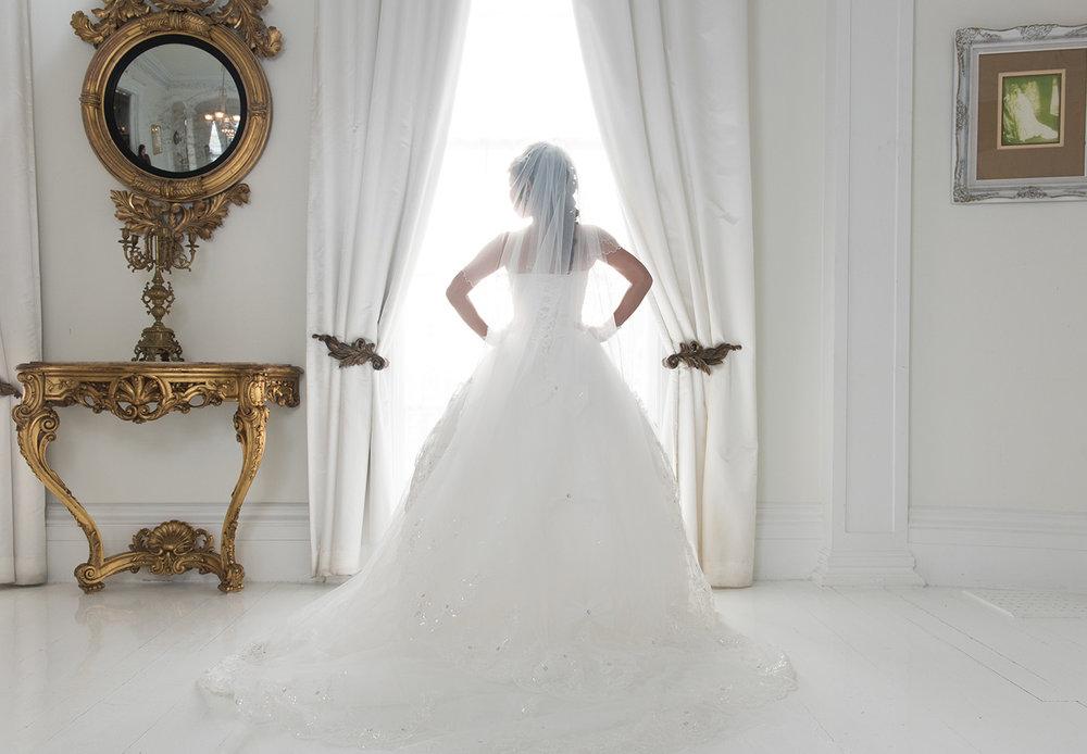 White Ball Room Bride