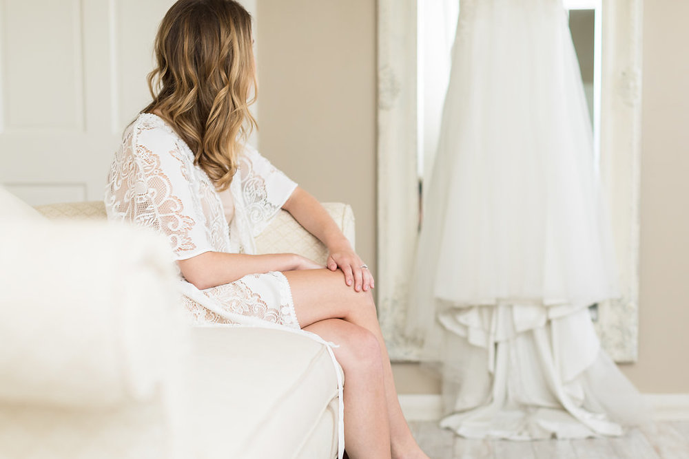 All over lace, flirty ivory bridal robe | Petal & Veil