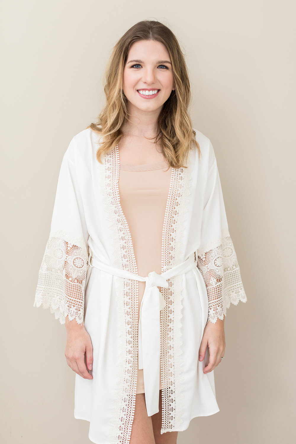 Boho chic ivory bridal robe with lace | Petal & Veil