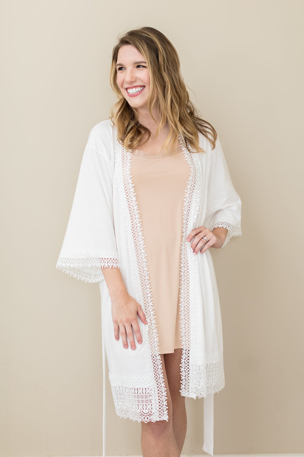 Simple and soft ivory cotton bridal robe | Petal & Veil