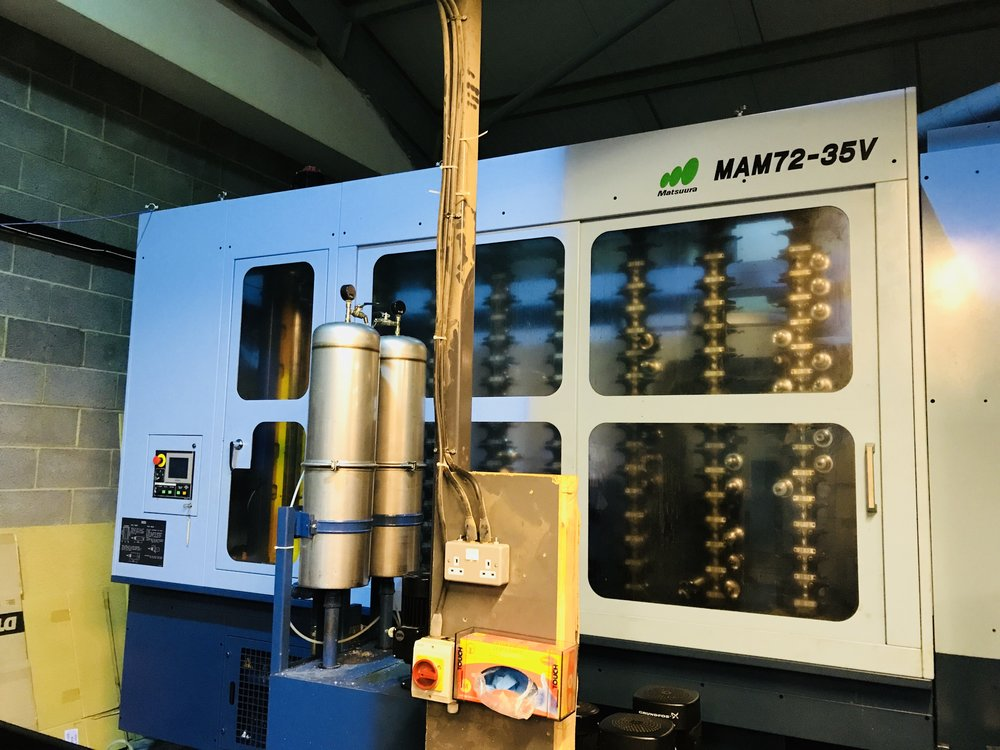 Matsuura MAM72-35V - High speed 15,000RPM 5-axis milling machine with robot 32 pallet loader for manufacturing high volumes of varied parts. As each pallet can have a different program running we can flex to our customers requirements. With 24/7 unmanned machining, zeropoint fixtures and 240+ tools, we can easily ramp up your production with minimal lead time.We manufacture a huge range of stems and other 5 axis complex parts, with bespoke multipart tombstone fixtures for volume manufacturing.