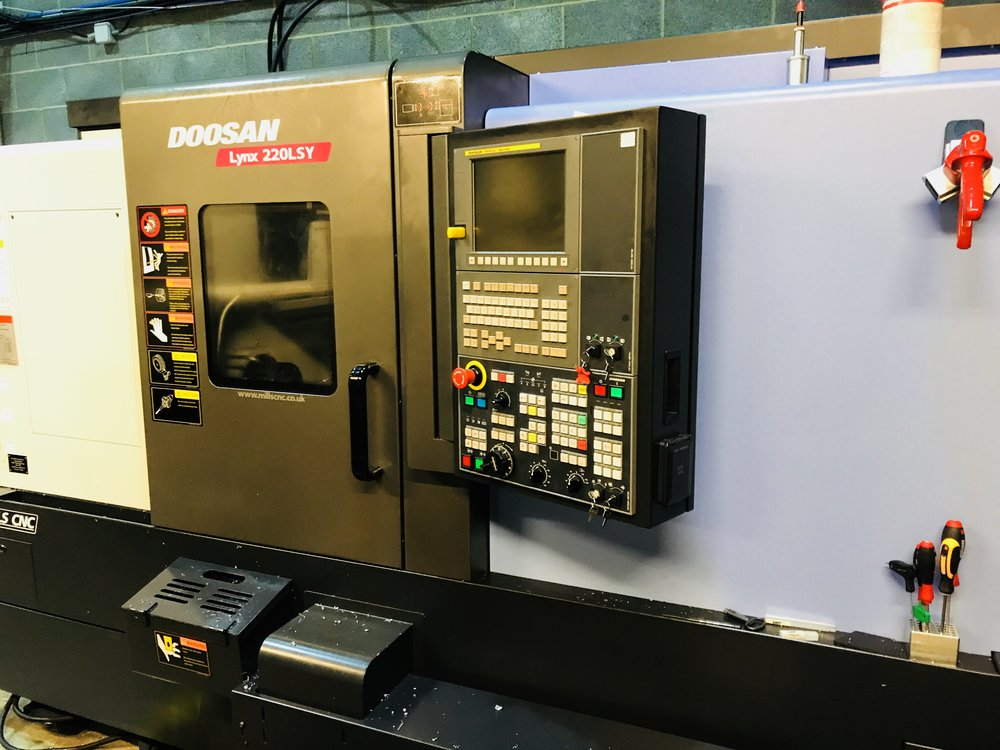 Doosan Lynx 220 Lathe - Y Axis - 51mm bar capacity driven tool lathe with automatic barfeeder and subspindle. High speed unmanned manufacturing of finished turned and milled parts from up to 51mm bar stock. Y-axis allows for much more complex automated components which would normally require manual loading in a milling machine.We manufacture complex milled parts such as freehubs, 24/7 running and done in one parts.